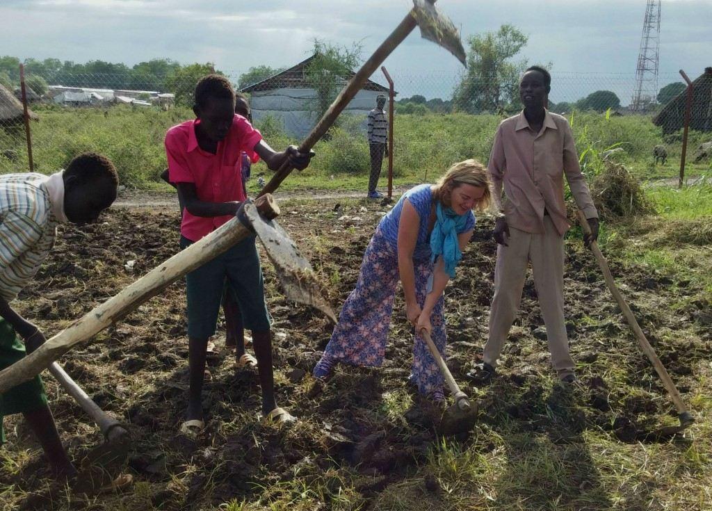 Digging a school garden in South Sudan, October 2015, while documenting the release and reintegration of children from armed groups. Growing vegetables and learning about agriculture will be key to their livelihood options and wellbeing.